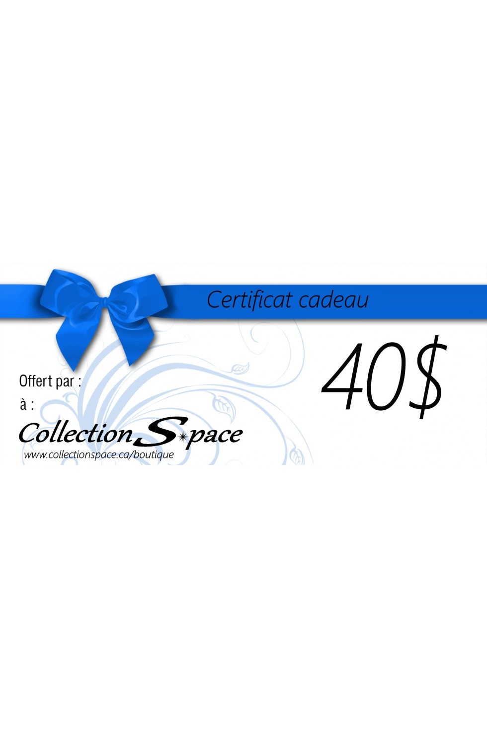 Certificat cadeau  (version papier) de 20$ à 200$ (par tranche de 20$) expédié par Poste Canada.