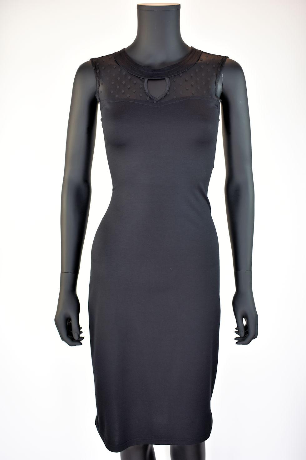 Tunique ou robe noire ajustée avec ou sans manches. Dentelle à pois. Création signée Collection Space