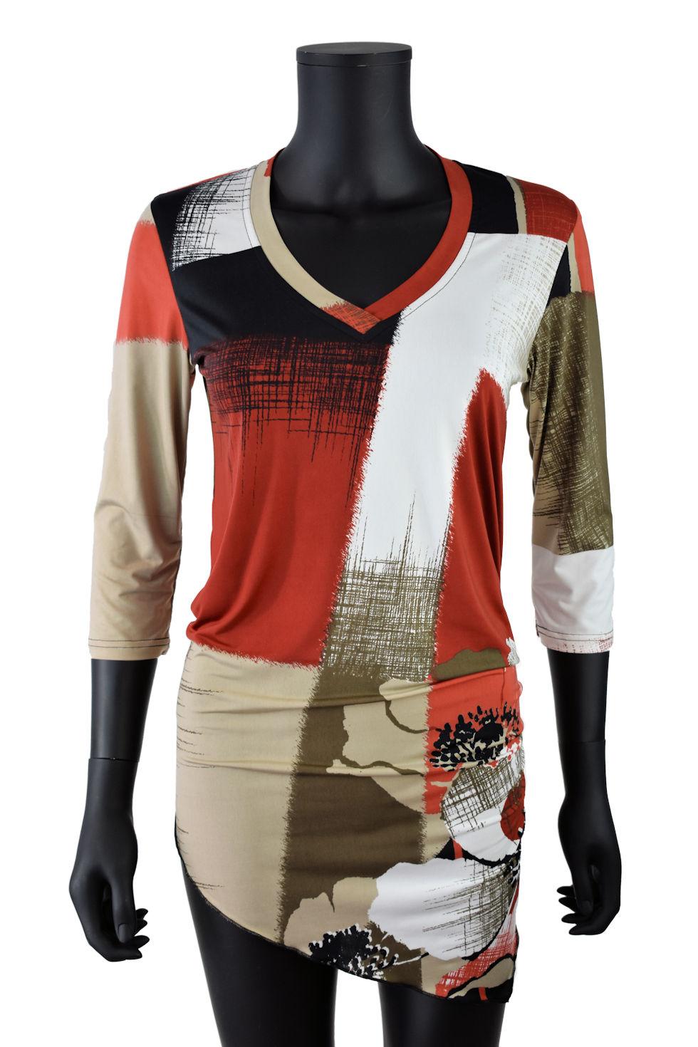 Tunique taupe et orange brûlé semi-ajustée avec pointe au devant et au dos . Création signée Collection Space
