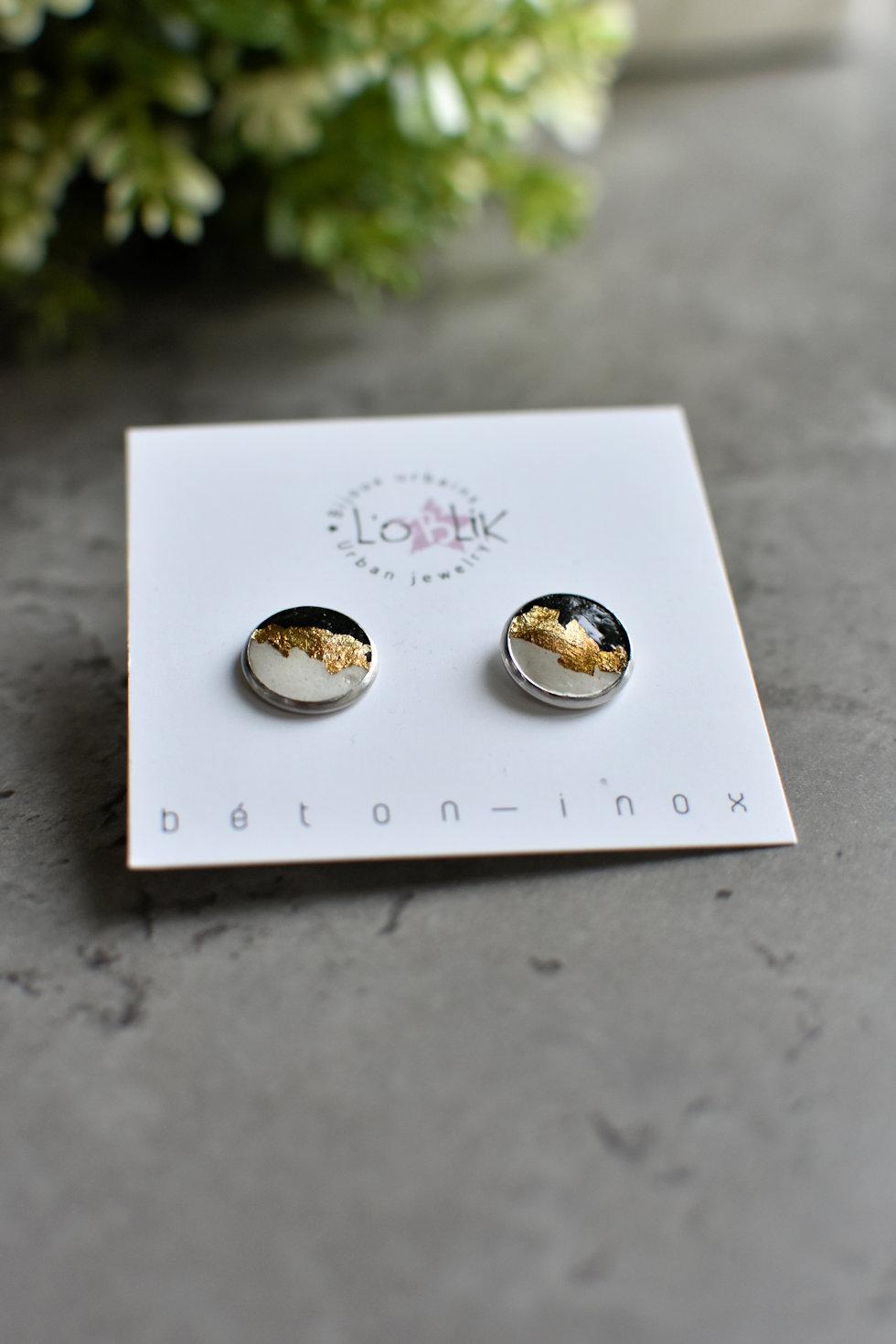 Boucles d'oreilles béton et or de L'OBLIK-Bijoux urbains. Fait au Québec