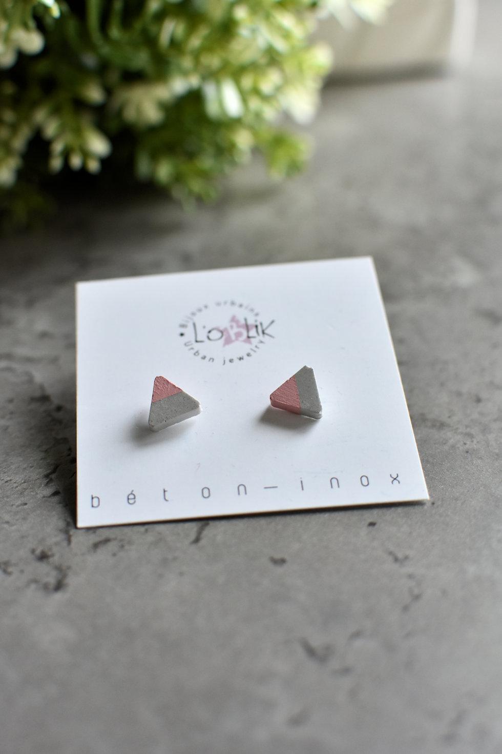 Boucles d'oreilles gris/rose de L'OBLIK-Bijoux urbains. Fait au Québec