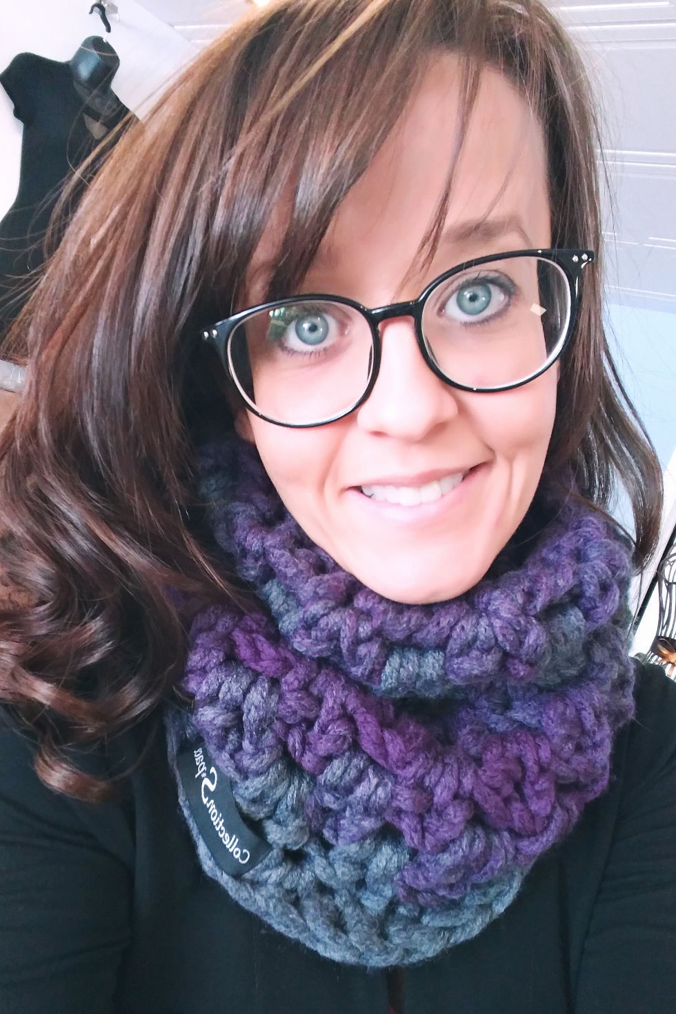 Purple and grey scarf
