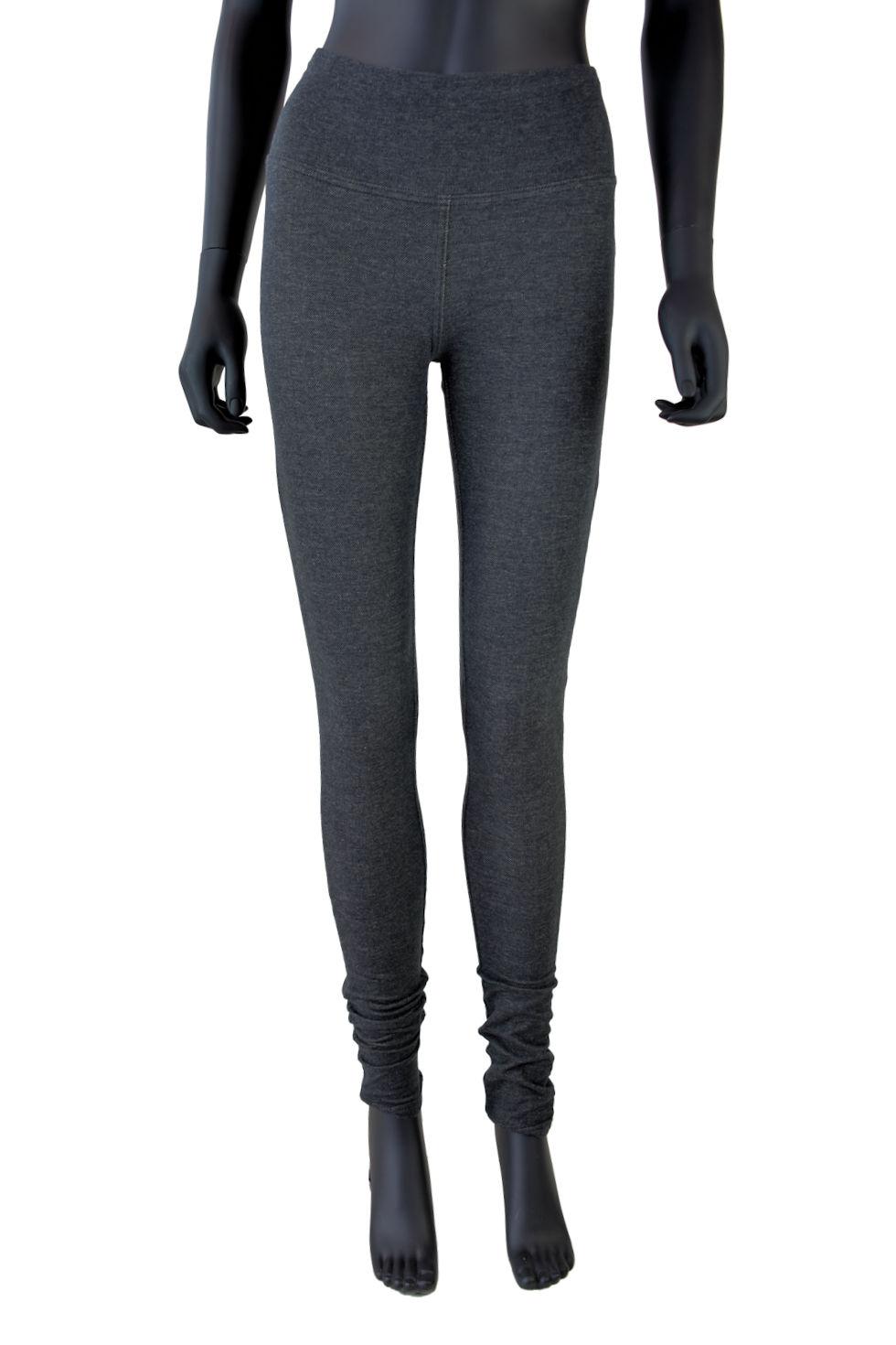Jegging (legging avec tissu à l'apparence jeans) gris granit à taille haute. Création Québécois signée Collection Space