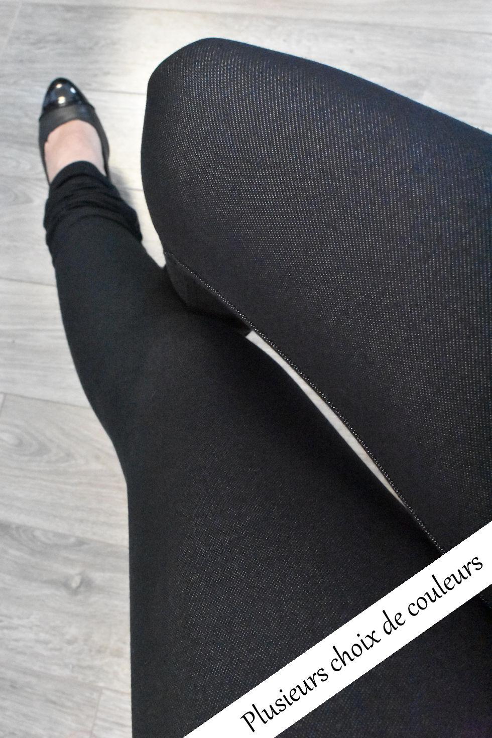 Jegging (legging avec tissu à l'apparence jeans) à taille haute.