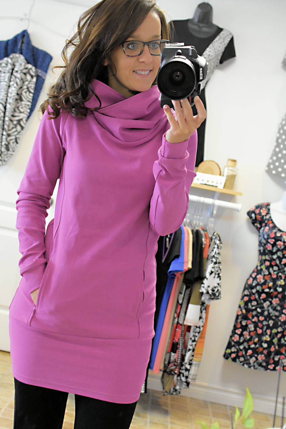 Pink hoodie made by Quebec fashion designer Collection Space